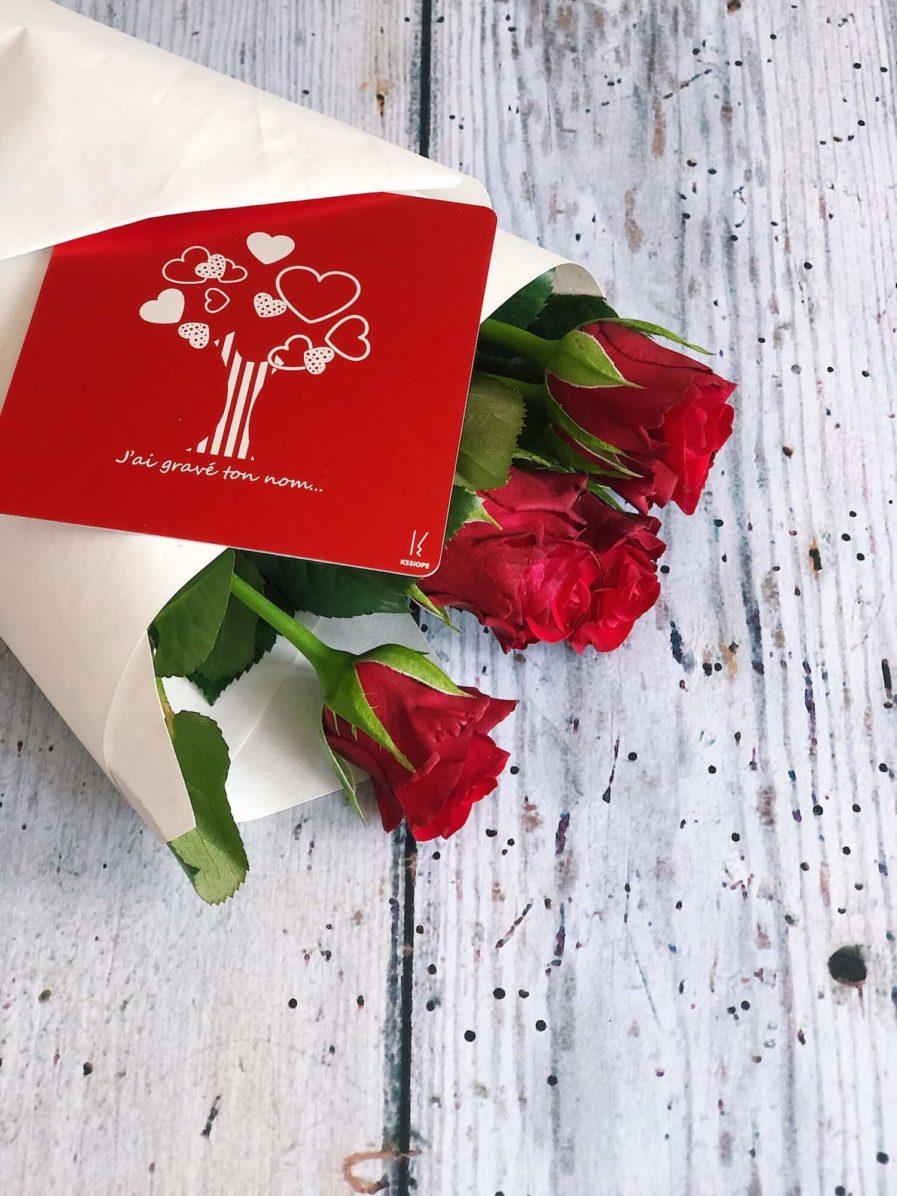message fleur - carte personnalisable en aluminium