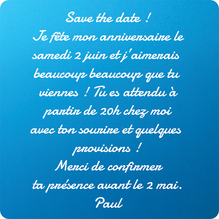 carte personnalisable en aluminium save the date