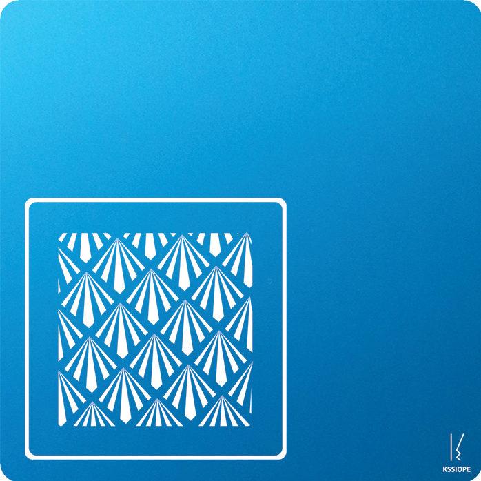 carte personnalisee - petit art deco - bleu clair