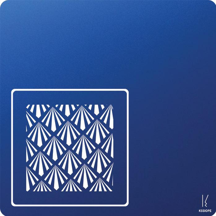 carte personnalisee - petit art deco - bleu fonce