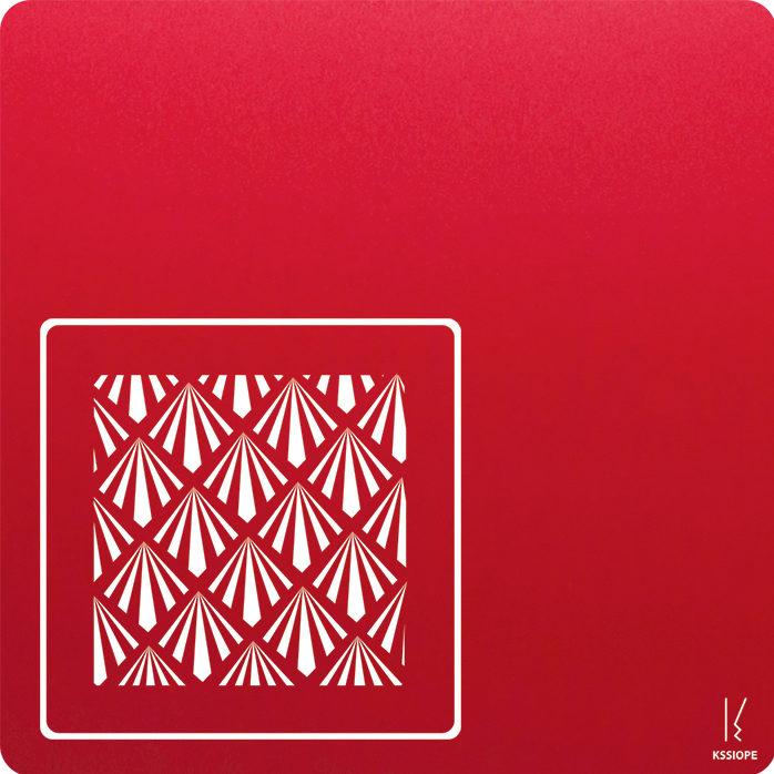 carte personnalisee - petit art deco - rouge