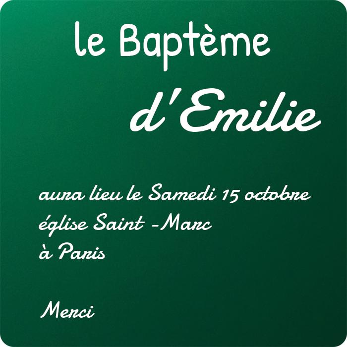 carte personnalisee kssiope invitation baptème vert