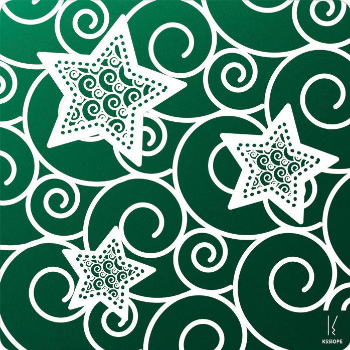 carte personnalisable - arabesque 3 etoiles - vert