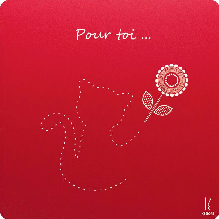 carte personnalisee - calin de felin - rouge