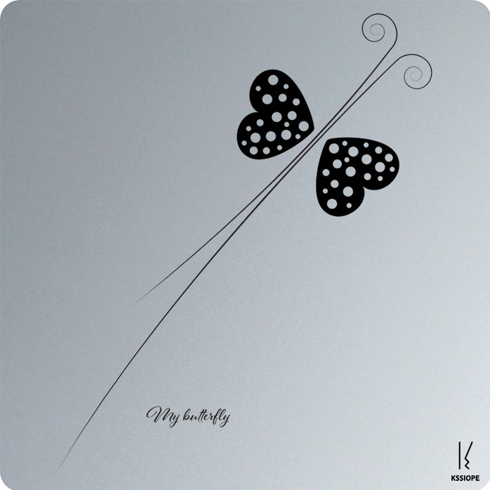 carte voeux personnalise - my butterfly - aluminium