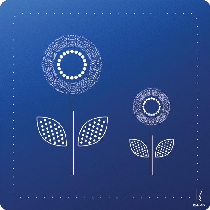 carte personnalisee - arrivée printemps - bleu
