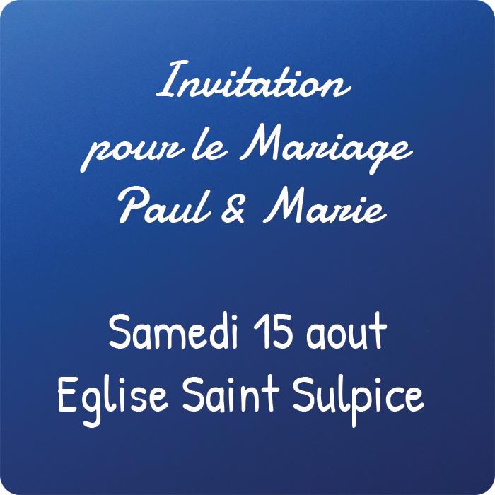 carte personnalisee kssiope invitation mariage bleu