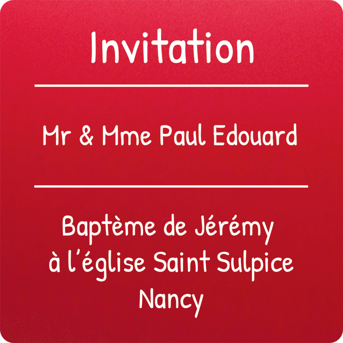 carte personnalisée invitation baptème couleur rouge