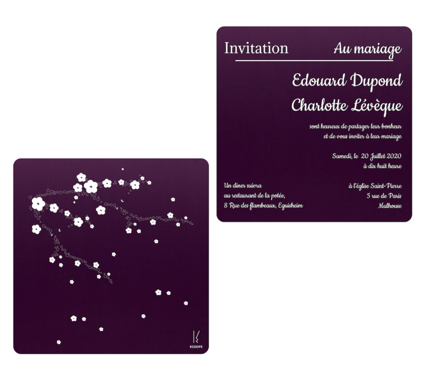 invitation mariage violet sakura