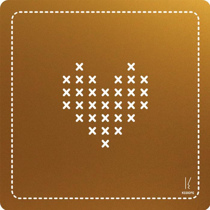 carte personnalisee - coeur point de croix - or