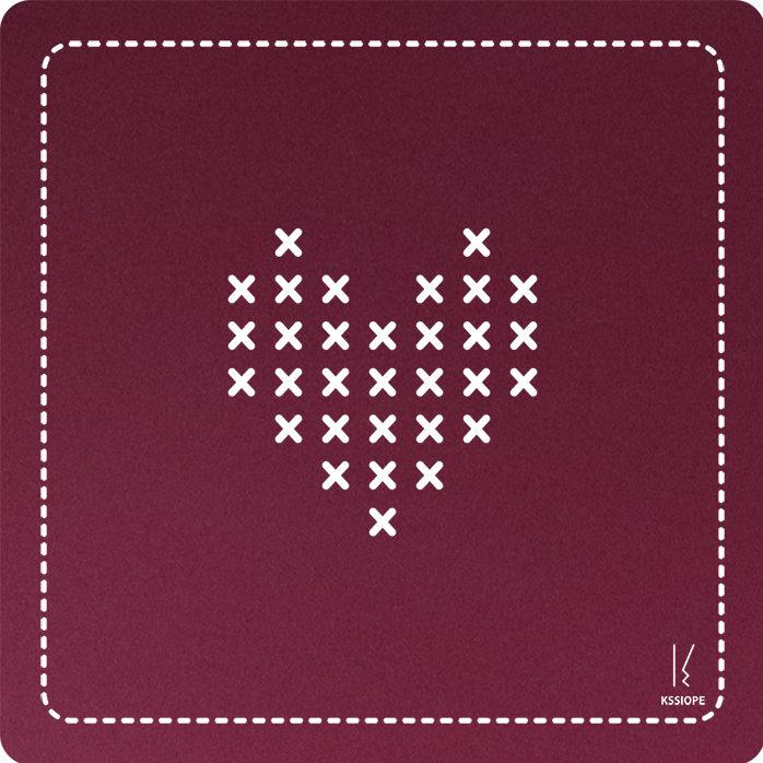 carte personnalisee - coeur point de croix - rose