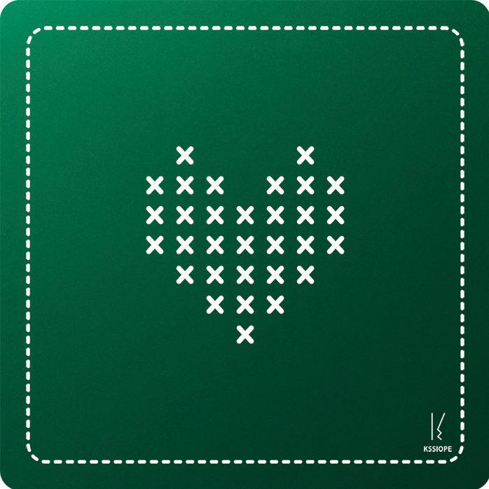 carte personnalisee - coeur point de croix - vert