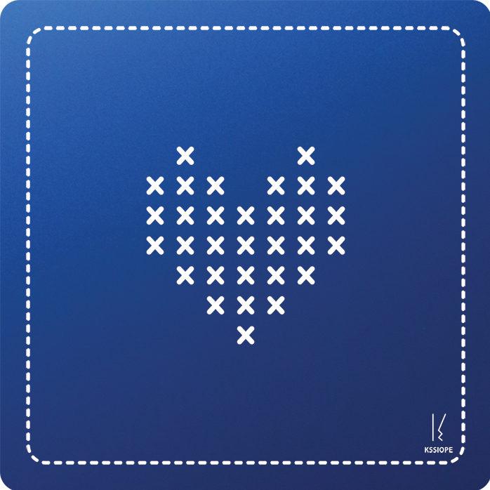 carte personnalisee - coeur point de croix - bleu