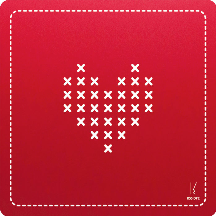 carte personnalisee - coeur point de croix - rouge