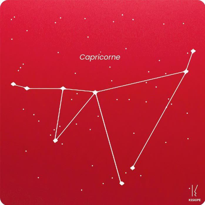 carte zodiaque personnalisable capricorne rouge