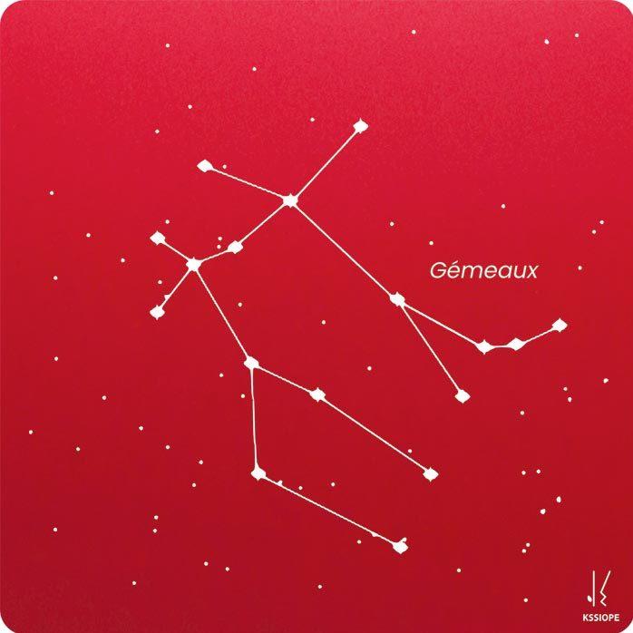 carte zodiaque personnalisable gemeaux rouge