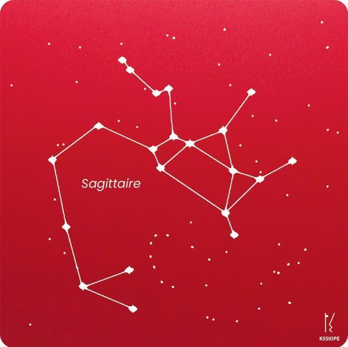 carte zodiaque personnalisable sagittaire rouge