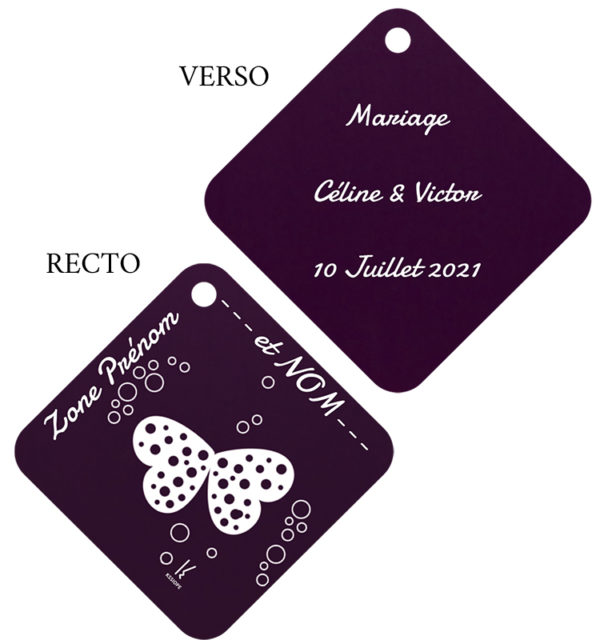 marque table personnalisation losange vert
