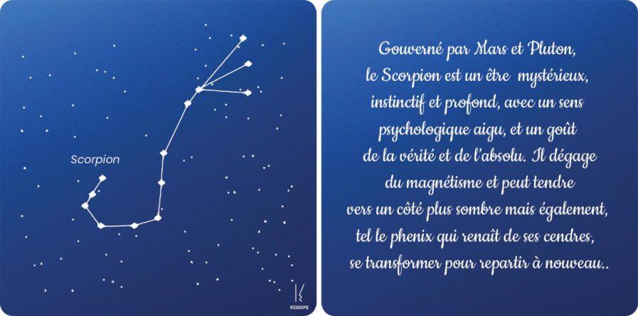 carte zodiaque Scorpion bleu