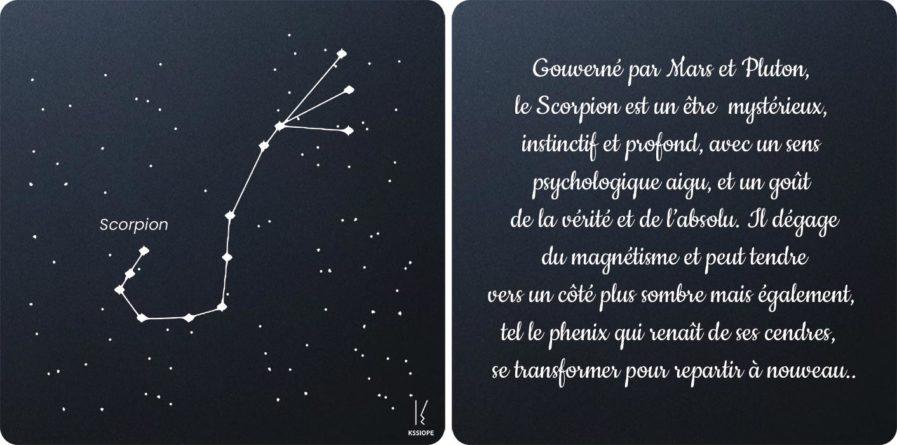 carte zodiaque Scorpion noir